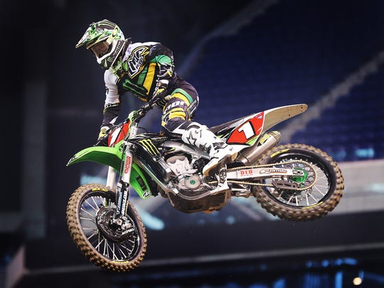AMA Supercross rider Ryan Villopoto tries out the new course while it was being constructed Thursday, February 27, 2014, afternoon at Lucas Oil Stadium.