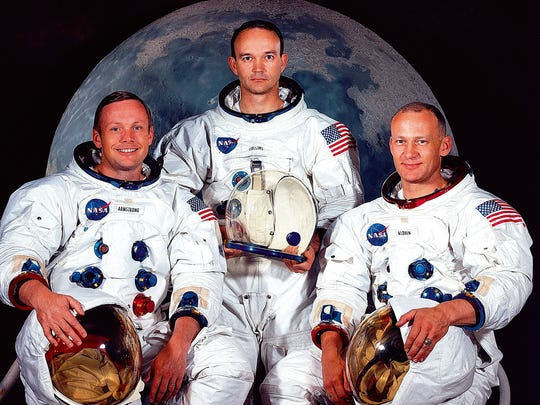 This May 1969 file photo shows the astronaut crew of the Apollo 11 lunar landing mission. Left to right, are Neil A. Armstrong, commander; Michael Collins, command module pilot; and Edwin E. Aldrin Jr., lunar module. AFP PHOTO / NASA (Photo credit should read /AFP/Getty Images)