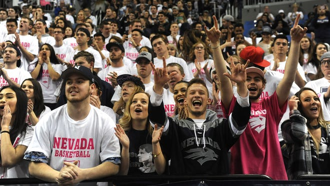 Nevada fans cheer while taking on New Mexico during their game at Lawlor Events Center.