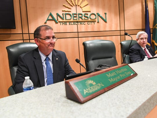 Mayor Pro-Tem Matt Harbin, left, fills in for Mayor Terence Roberts for the Anderson City Council meeting in City Hall in Anderson on Monday.