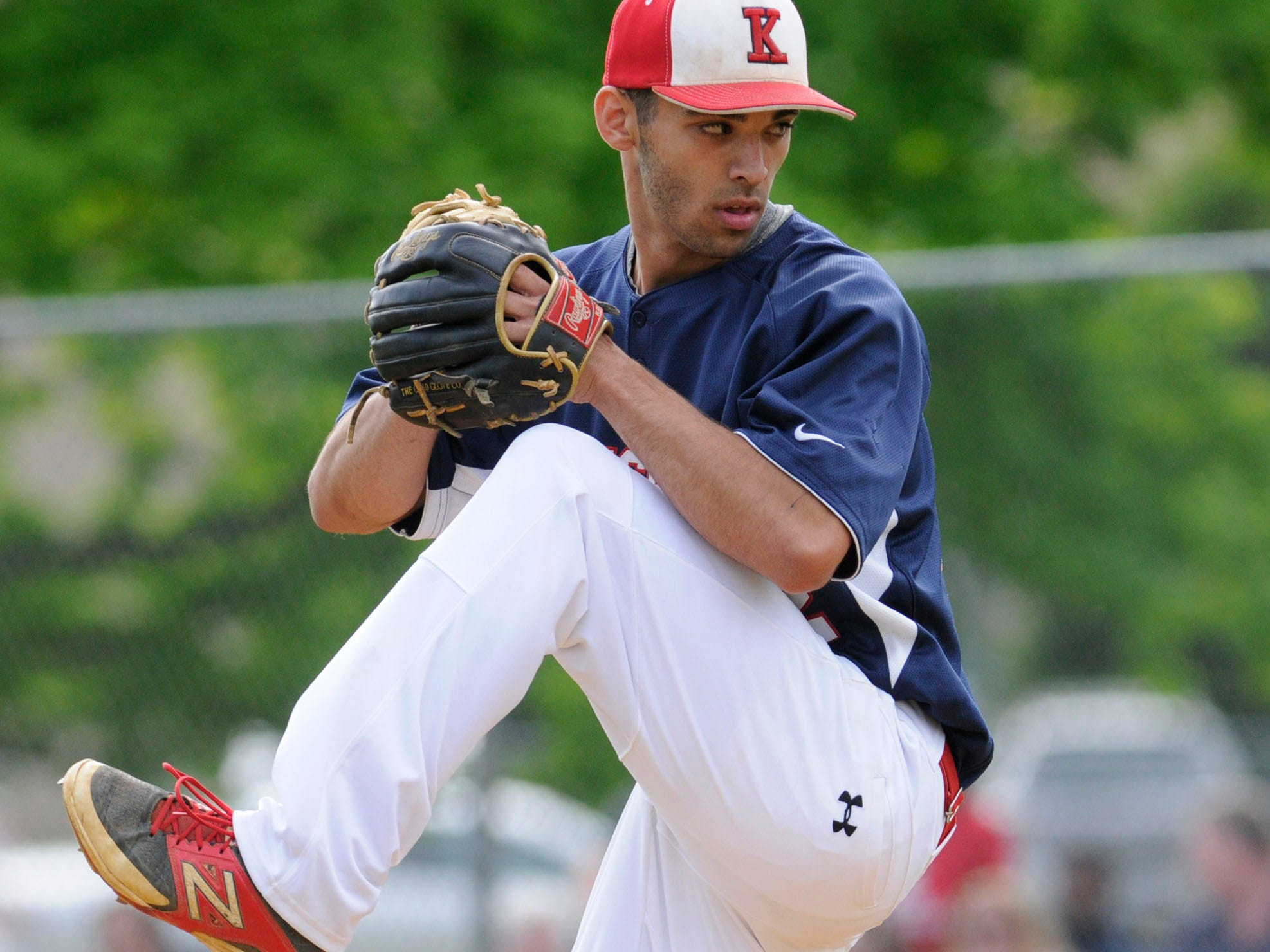 Roy C. Ketcham High School's Timothy Zehnbauer winds up a throw in Thursday's game against John Jay High School.
