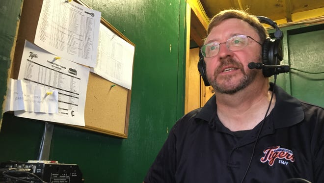 Broadcaster Rich Haskell calls the action between the Vermont Lake Monsters and Connecticut Tigers on Wednesday night at Centennial Field.