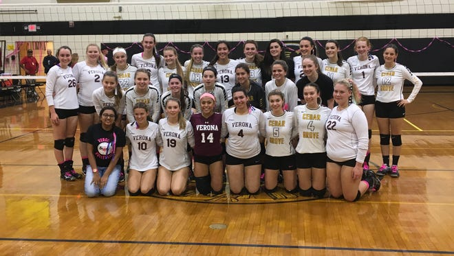 Members of the Verona and Cedar Grove volleyball teams raised money for breast cancer awareness at the annual Dig Pink game.