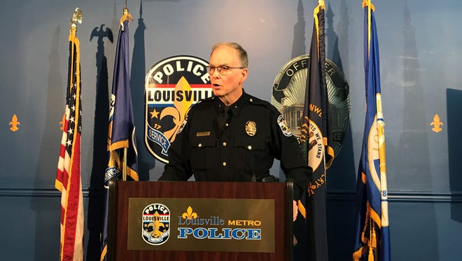 LMPD Chief Steve Conrad speaks at a press conference after police shot a suspect they say fired a weapon at an officer.