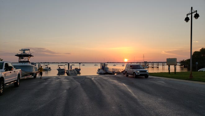 Anglers launch their boats at dawn on June 23 at the Jensen Beach Boat Ramp adjacent to the U.S. Sailing Center of Martin County.