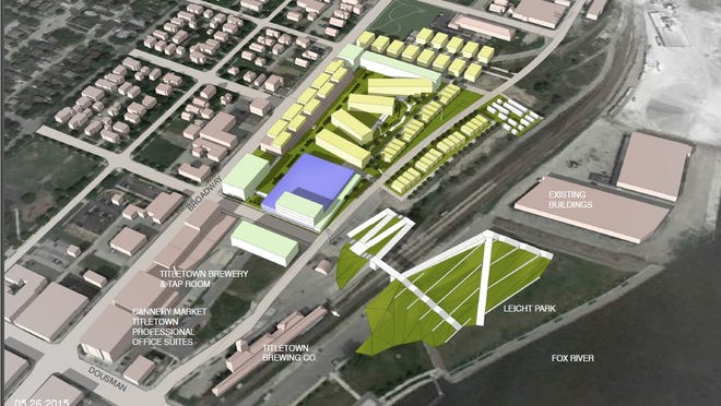 An artist's rendering of a proposed development on the Larsen Green development site on North Broadway in Green Bay.