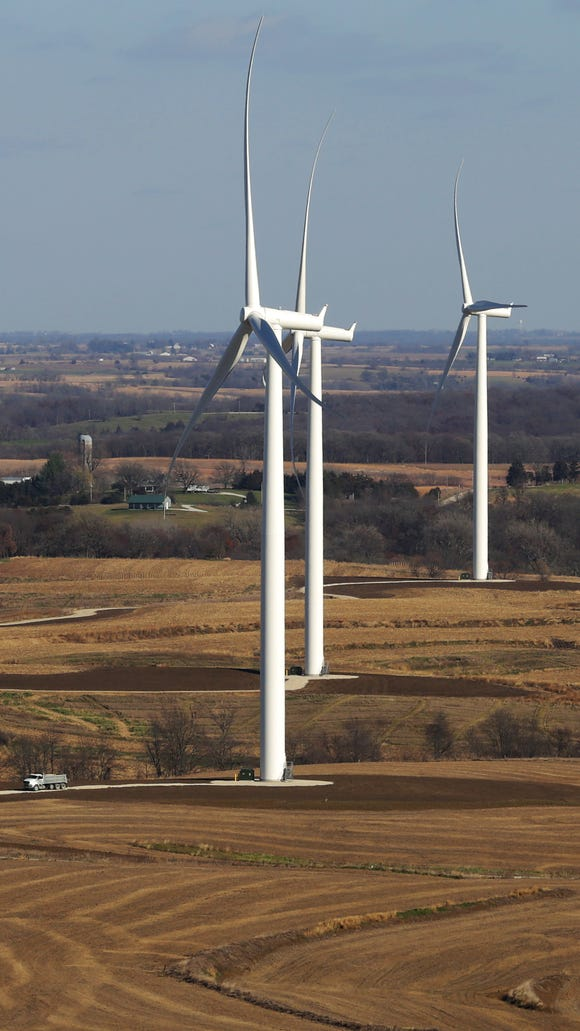Wind turbines in Macksburg. Similar turbines are set to be in place in Iowa County soon, but the project is entering a new phase
