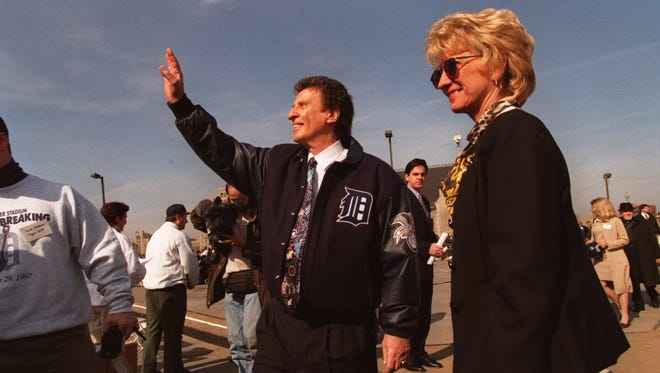 Mikie and Marian Ilitch at the groundbreaking for the new stadium where the Tigers will play on Woodward Ave. in downtown Detroit in October 1997.