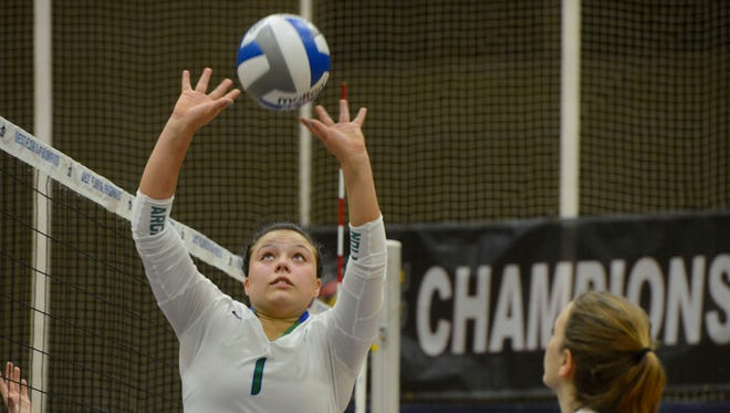 West Florida's Monique StCyr sets up the ball during the GSC Championship game against North Alabama on Nov. 19, 2016, at UWF Fieldhouse. StCyr was named to the All-GSC preseason team on Tuesday.