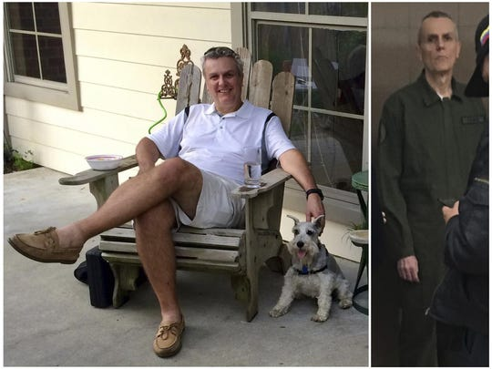 This photo combo shows Citgo executive Tomeu Vadell at his home in Lake Charles, Louisiana, in July 2015, left, and three and a half years later while in confinement in a Venezuelan jail in January 2019.