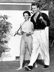Robert Wagner and Natalie Wood on their honeymoon at the Racquet Club c. 1950.