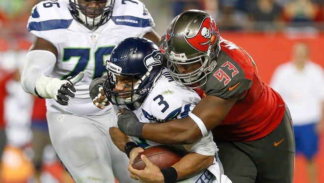 Seahawks QB Russell Wilson  was sacked six times in Sunday's loss.