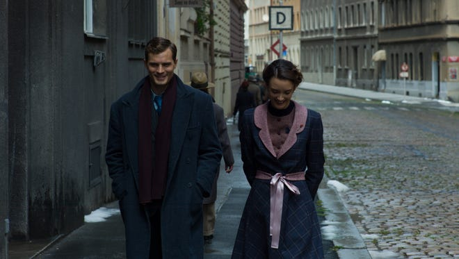 """In """"Anthropoid,"""" a relationship grows between Jan (Jamie Dornan) and Marie (Charlotte Le Bon)."""