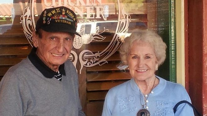 Nick and Laura Nackos both served important roles during World War II — Nick as a combat infantryman and Laura at an aircraft manufacturing plant.    submitted photo
