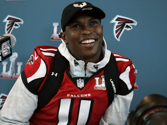 Feb 1, 2017; Houston, TX, USA; Atlanta Falcons receiver Julio Jones answers questions at a press conference for Super Bowl LI at Westin Houston Memorial City Hotel. Mandatory Credit: Matthew Emmons-USA TODAY Sports