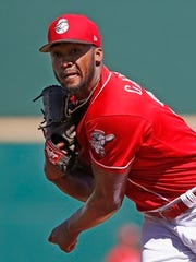 Cincinnati Reds starting pitcher Amir Garrett warms up prior to a spring training baseball game against the Los Angeles Angels Wednesday, March 8, 2017, in Goodyear, Ariz. The Angels defeated the Reds 9-0. (AP Photo/Ross D. Franklin)