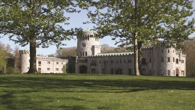Castle Gould at Sands Point Preserve is a 100,000-square-foot limestone medieval castle modeled after Ireland's Kilkenny Castle.