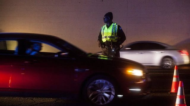 April 4, 2015 - Memphis Police run a DUI checkpoint on Winchester Road.