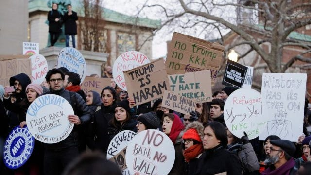 Columbia University students gather to protest President Donald Trump's immigration order Monday, Jan. 30, 2017, in New York. President Trump's executive order, signed on Friday, restricts travelers from seven predominantly Muslim countries.