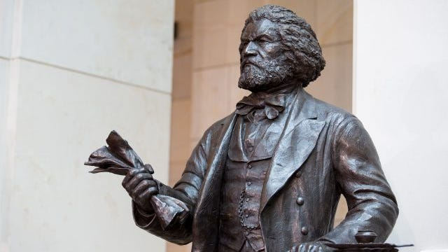 There's a statue of Frederick Douglass in Emancipation Hall at the Capitol Visitors Center, at the U.S. Capitol. It was dedicated in a ceremony on June 19, 2013.
