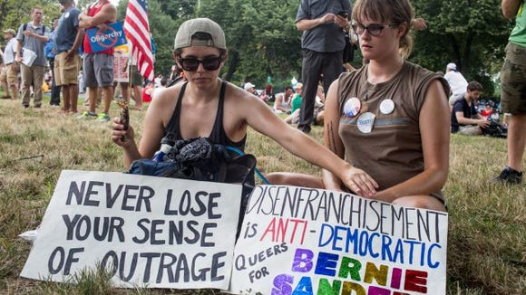 Stephanie Ross and Angelique Bybee DNC protest