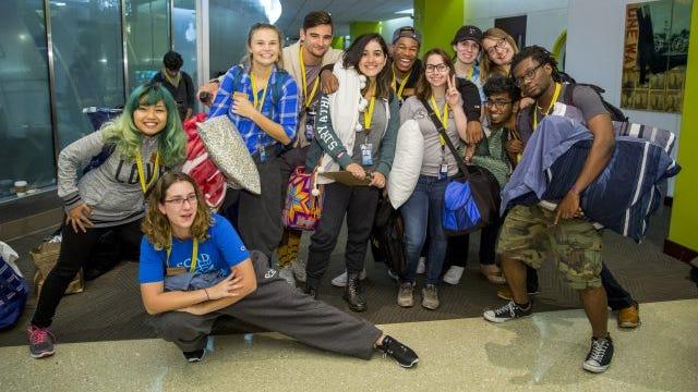 SCAD students at SCAD Atlanta during the Hurricane Matthew evacuation.