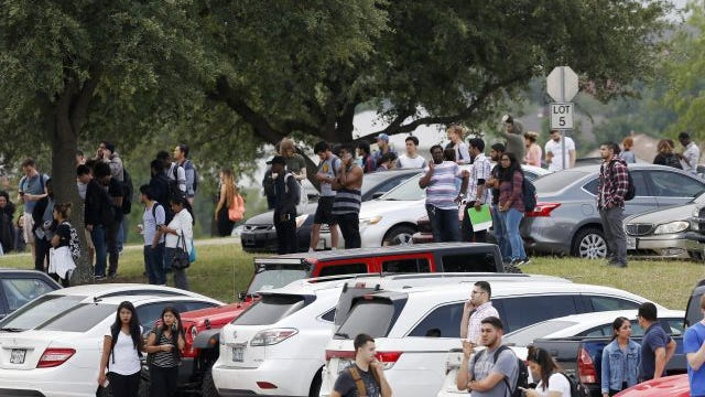 The North Lake College campus in Irving, Texas, Wednesday, May 3, 2017, during a lockdown on the community college campus in the wake of a fatal shooting. Now guns are legal on campus.