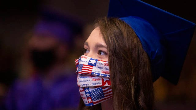 Culleoka Unit School senior Chesley Cothran, who will enlist in the United States Army, attends a special graduation ceremony held at Columbia Central High School for Maury County Public Schools students who will join the United States Military on Wednesday, May 27, 2020.