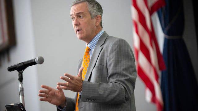Secretary of State Tre Hargett speaks before members of Kiwanis of Columbia inside the Memorial Building in Columbia, Tenn., on Friday, Aug. 14, 2020.