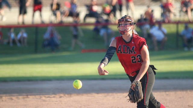 ADM junior Abbie Hlas pitching during the regional final game against Oskaloosa last season. PHOTO BY ANDREW BROWN/DALLAS COUNTY NEWS