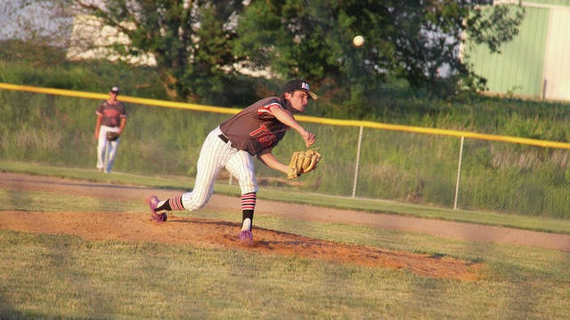 ADM junior Ethan Juergens pitching against Perry Wednesday, June 17. PHOTO BY ALLISON ULLMANN/DALLAS COUNTY NEWS