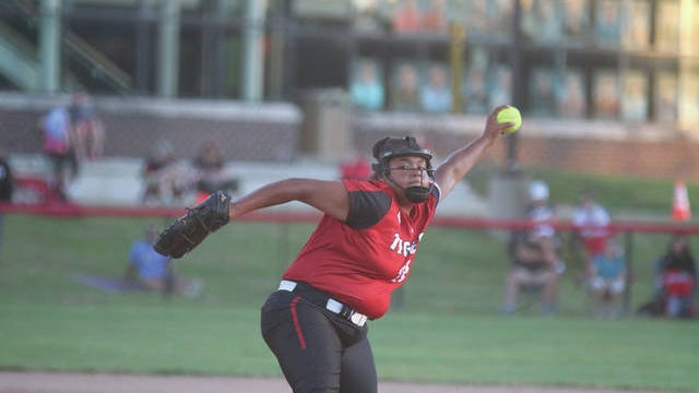 ADM freshman Aliya Yanga pitching during a home contest earlier this season. PHOTO BY ANDREW BROWN/DALLAS COUNTY NEWS