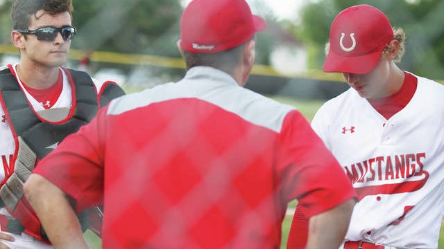 DCG head coach Byron Peyton talking to catcher Cole Wessling and pitcher Huston Halverson during a home battle this season. PHOTO BY ANDREW BROWN/DALLAS COUNTY NEWS