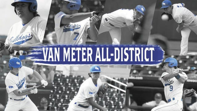 Van Meter's All-District 12 honorees in Brett Berg, Jacob Blomgren, Anthony Potthoff, Zach Pleggenkuhle, Jack Pettit, Kolby Booge, and Bryce Cole. PHOTOS BY ANDREW BROWN/DALLAS COUNTY NEWS