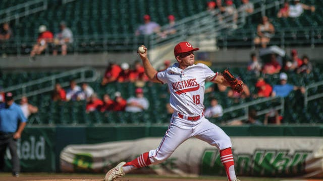 DCG's Logan Smith pitches in the Class 3A state quarterfinal game against Benton. PHOTO BY ANDREW BROWN/DALLAS COUNTY NEWS