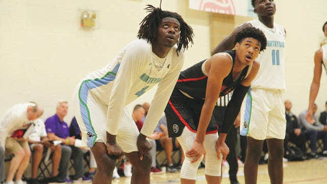 Small forward Dudley Blackwell, who signed with Iowa State and will be a freshman this fall, watches a teammate's free throw at the 2019 Nike Peach Jam. File photo