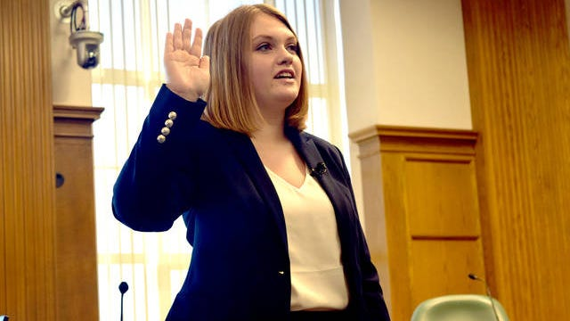 Rachel Junck is sworn into her first term as Ames City councilmember in this file photo. Photo by Robbie Sequeira/Ames Tribune.