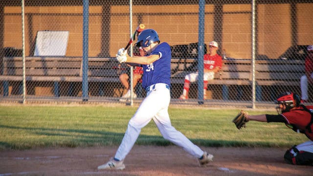 Avery Meister at bat during a home contest earlier this season. PHOTO BY SEAN CORDY/THE PERRY CHIEF
