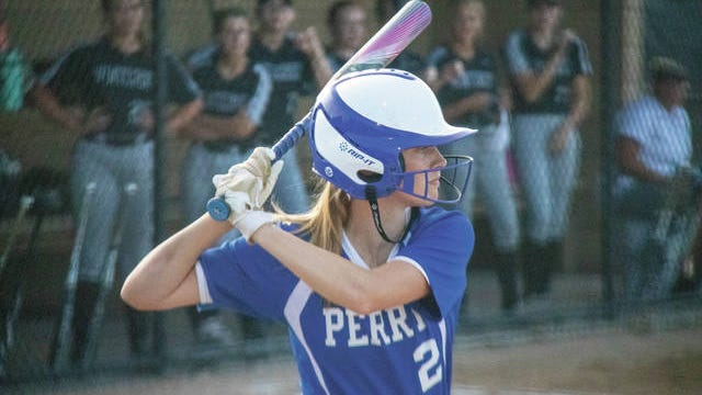Lydia Olejniczak waits for a pitch during an away game on June 22. PHOTO BY SEAN CORDY/THE PERRY CHIEF