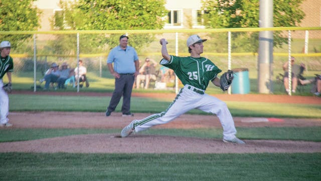 Jay Dorenkamp on the mound against Madrid on June 24. PHOTO BY SEAN CORDY/THE PERRY CHIEF