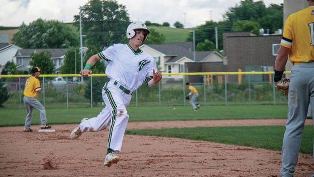 Bryce Achenbach runs the bases during Woodward-Granger's win over ACGC on Wednesday, July 15. PHOTO BY SEAN CORDY/THE PERRY CHIEF