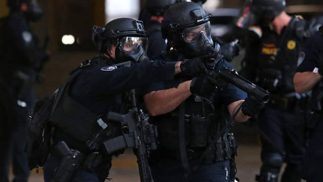 Police officers in downtown Fort Lauderdale, Florida, during a protest on May 31, 2020. John McCall/Sun Sentinel/TNS