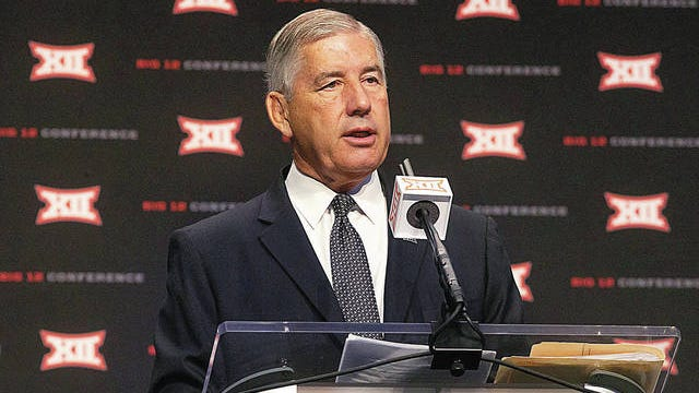 Big 12 Commissioner Bob Bowlsby speaks during the Big 12 Conference Media Days event at the AT&T Stadium in Arlington, Texas, Monday, July 15, 2019. Lynda M. Gonzalez/Dallas Morning News file
