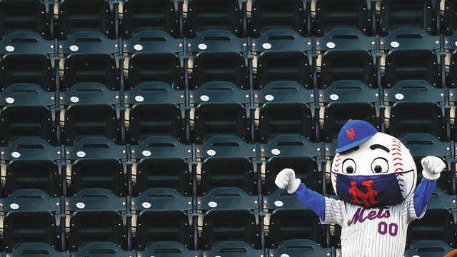 A New York Mets mascot dances in the stands during a break in play in a game between the Atlanta Braves and the Mets on Sunday, July 26, 2020, in New York. Adam Hunger/AP