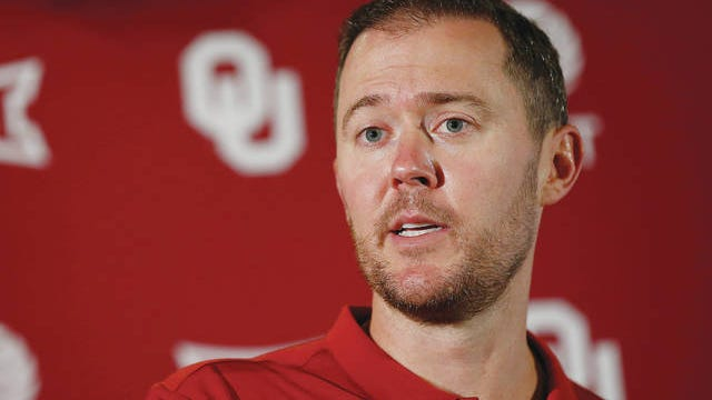 Oklahoma head coach Lincoln Riley answers a question during an NCAA college football media day news conference in Norman, Aug. 2, 2019. Sue Ogrocki/AP file