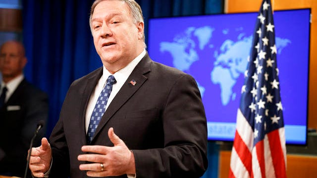 Secretary of State Mike Pompeo speaks about Iran on Tuesday at the State Department in Washington.