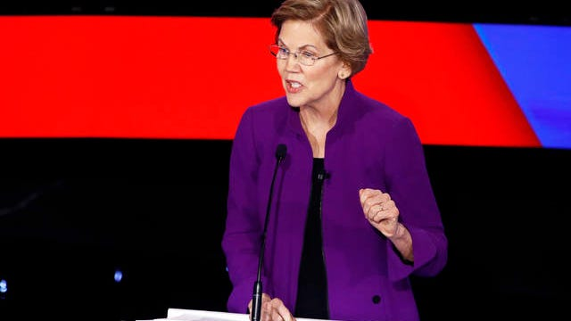 Democratic presidential candidate Sen. Elizabeth Warren, D-Mass., speaks Tuesday during a Democratic presidential primary debate hosted by CNN and the Des Moines Register in Des Moines, Iowa.
