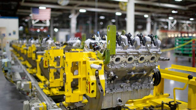 A 6.2L V8 engine block sits on the Global Propulsion Systems assembly line at the General Motors manufacturing facility in Spring Hill on Thursday, Jan. 16, 2020.