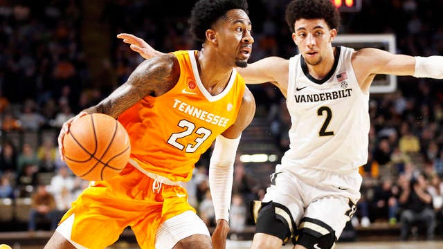Tennessee guard Jordan Bowden (23) drives against Vanderbilt guard Scotty Pippen Jr. (2) during the second half of an NCAA college basketball game Saturday in Nashville. Bowden scored 21 points as Tennessee won 66-45.