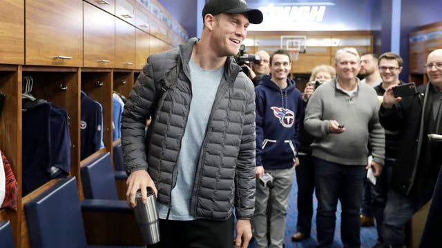 Tennessee Titans quarterback Ryan Tannehill leaves the locker room as players clean out their lockers Monday in Nashville. The Titans lost the AFC Championship NFL football game Sunday to the Kansas City Chiefs.